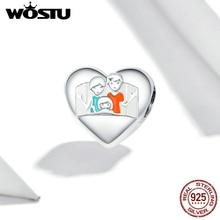 WOSTU famille chaude breloque ajustement Original Bracelets et bracelet 925 en argent Sterling plaqué platine bijoux fins faire cadeau BNC354