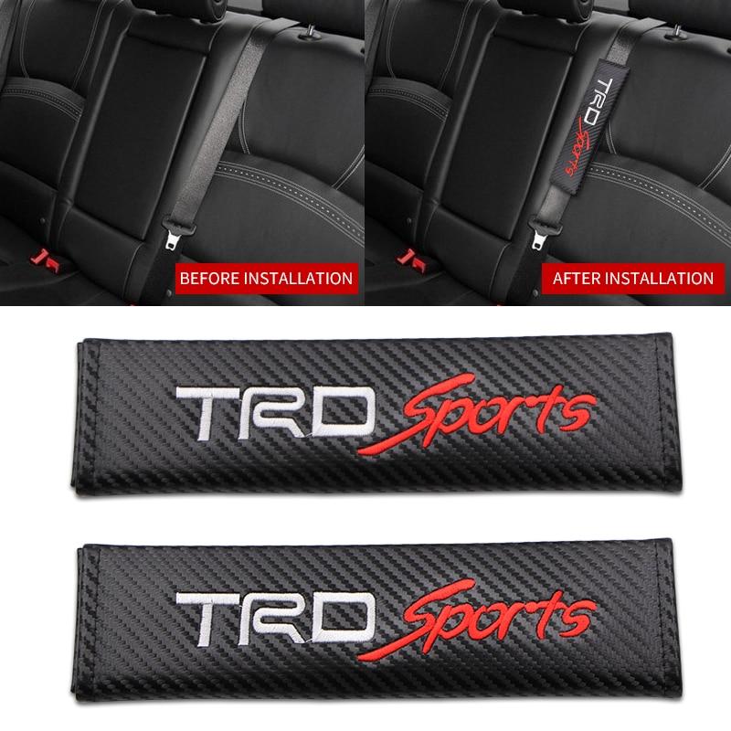 1 pçs/set cintos de segurança do carro cobre estofamento cinto couro fibra carbono manga ombro para toyota racing trd esportes estilo do carro