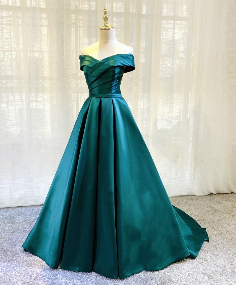 2021 Off the Shoulder Hunter Evening Dresses Lace-up or Zipper Back Sweep Train Prom Gowns Royal Blue, Orange