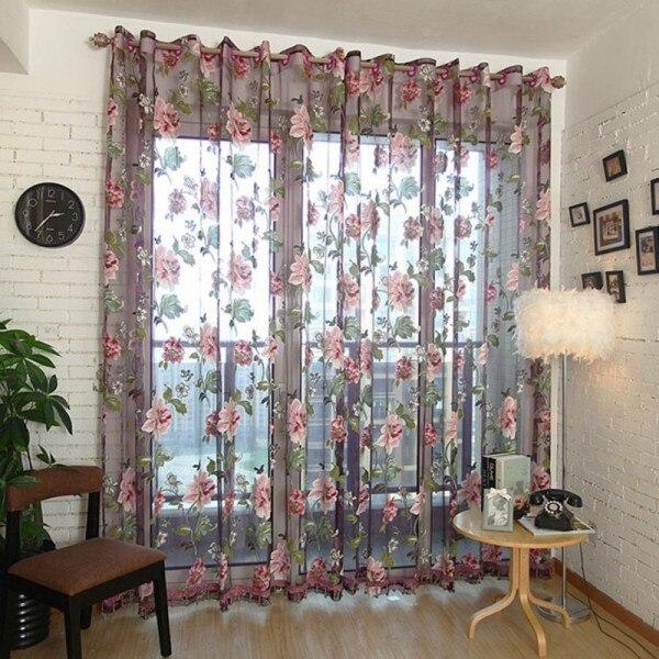 Cortinas transparentes florales de tul para ventana para cocina, sala de estar, cortinas de tul para dormitorio, decoración del hogar, cortinas divisoras para habitación D30