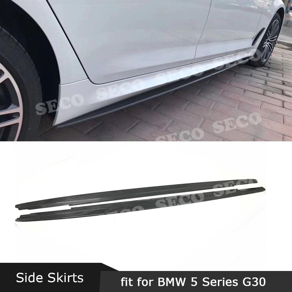 Para BMW 5 Series G30 G31 M Tech M Sport 2017 2018 2019 faldas laterales de fibra de carbono delantales de estilo MP Protector de parachoques de puerta FRP