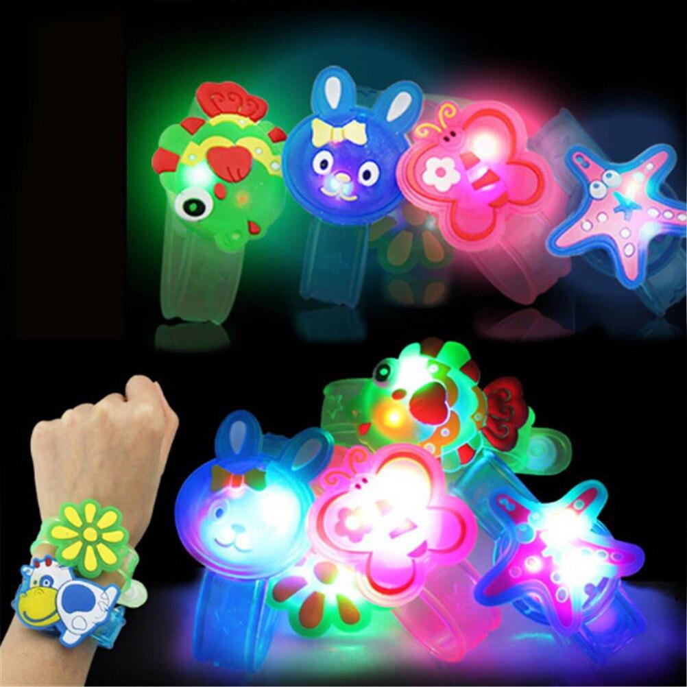 1pcs Colorful LED Watch Toy Boys Girls Flash Wrist Band Glow Luminous Bracelets Cartoon LED Night Li
