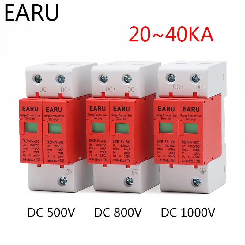 SPD DC 500V 800V 1000V 2P 20~40KA Lightning Surge Protection Protector Device Arrester Low Voltage House 2 Poles PV Photovoltaic