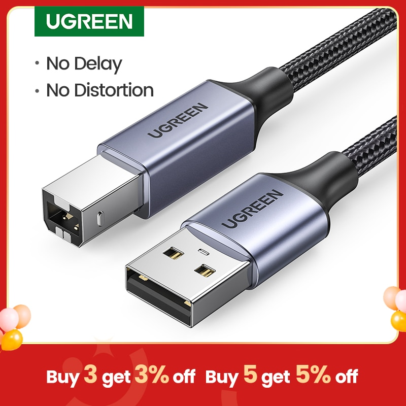 Ugreen-Cable USB para impresora tipo B, macho A macho, USB 3,0 2,0,...
