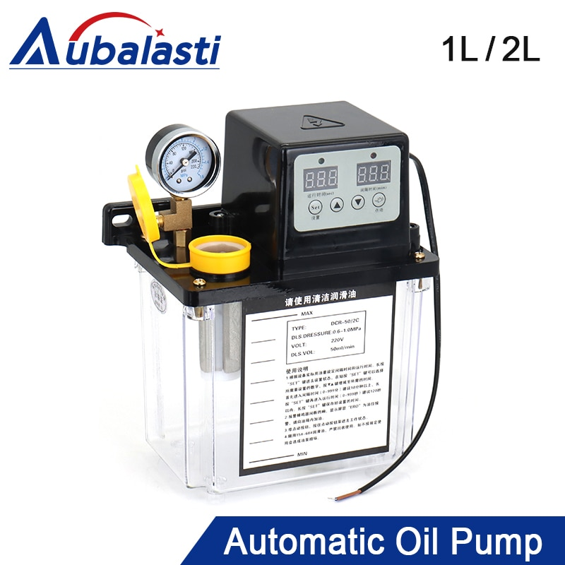 Aubalasti Lubricating Oil Pump 1L 2L 220V Lubricant Automatic CNC Electromagnetic Lubrication Pump Lubricator For CNC Machine