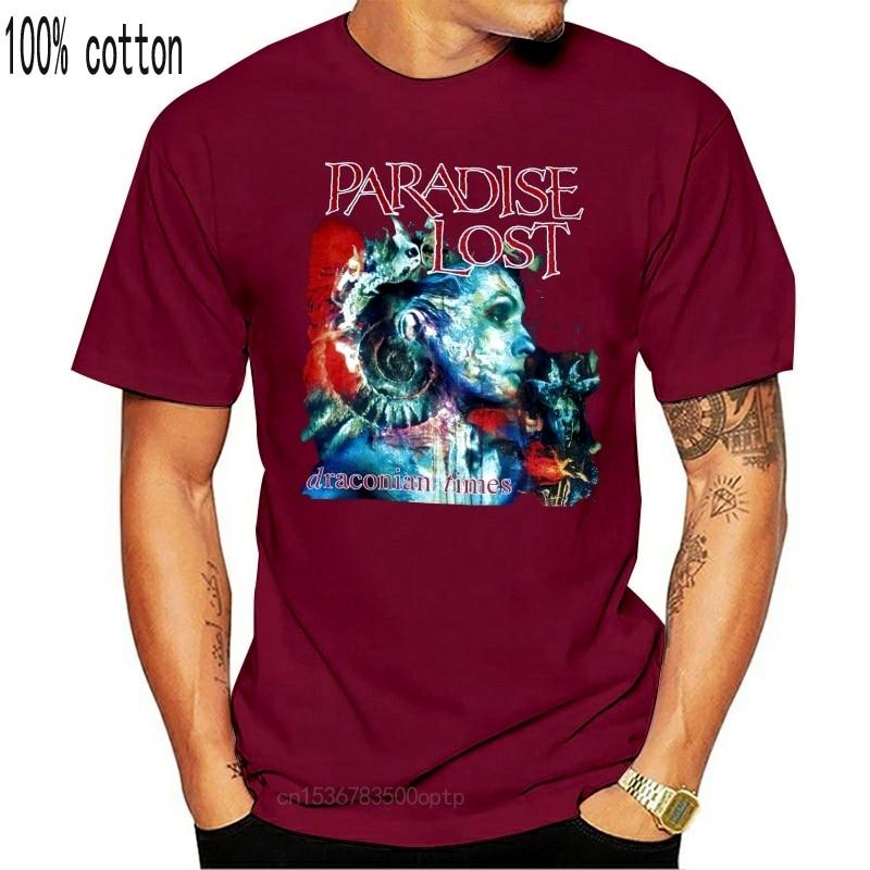 Camiseta de manga curta em torno do pescoço t camisa promoção camiseta de metal gótico da morte da morte dos tempos draconianos perdidos do paraíso