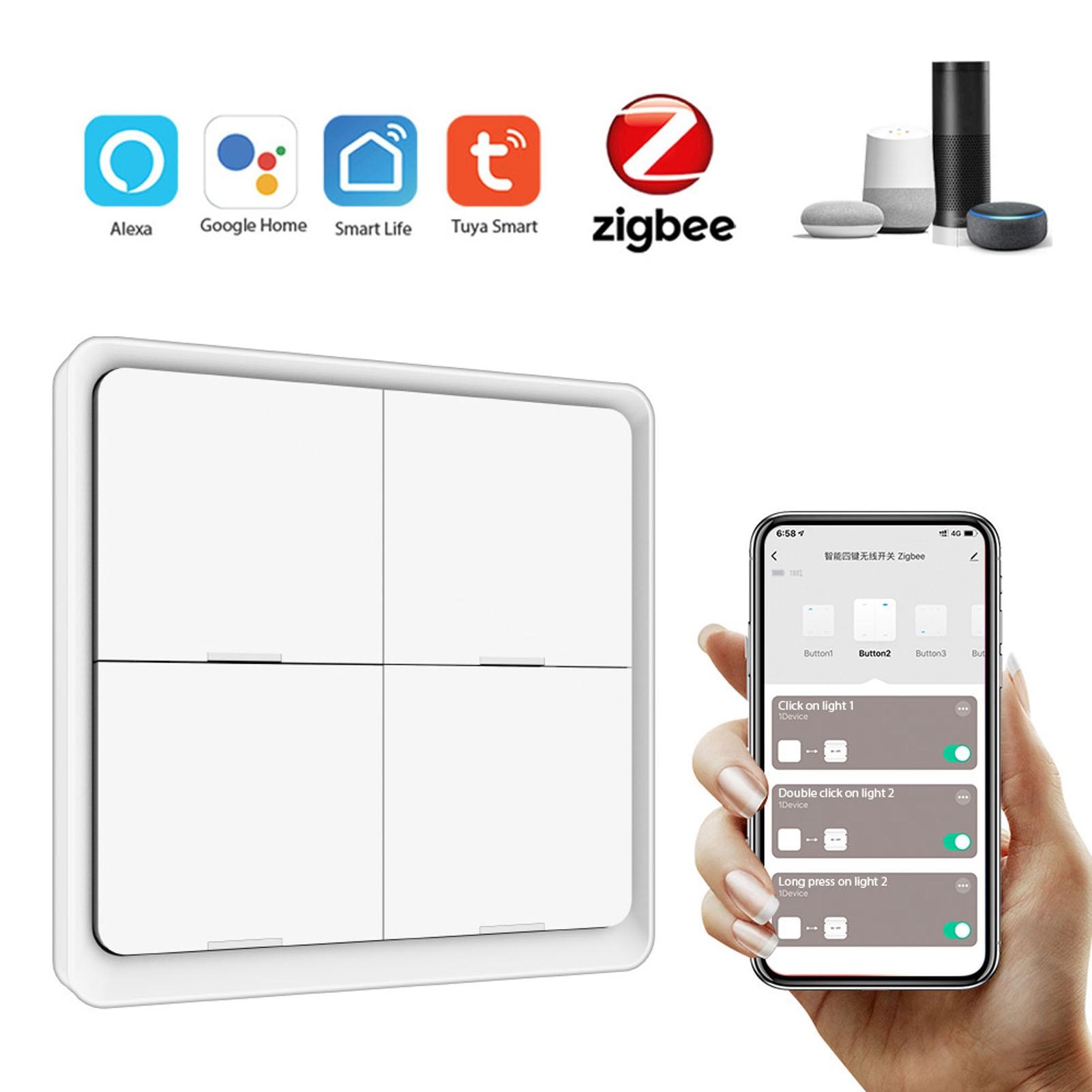 Tuya ZigBee-مفتاح لاسلكي 4 مداخل مع لوحة طريق ، أداة منزلية ذكية متوافقة مع Tuya و Alexa و Google Home و Siri