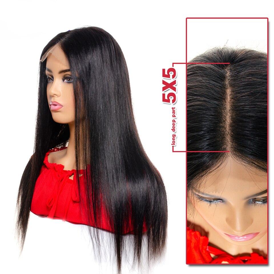 5x5 reta frente do laço peruca de cabelo humano brasileiro remy cabelo suíço laço frontal peruca para as mulheres cor natural tinashe beleza