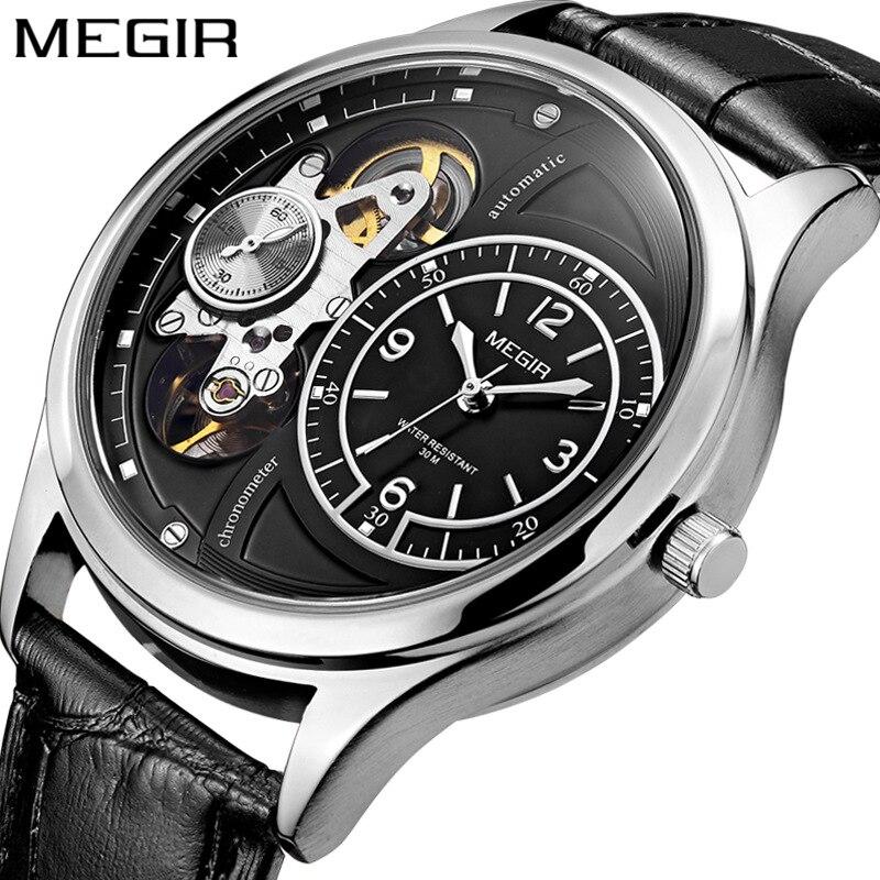 Relógio de Negócios Através do Fundo Relógio à Prova Megir Moda Tendência Masculino Esportes Oco Relógios Cinto Dwaterproof Água Relógio