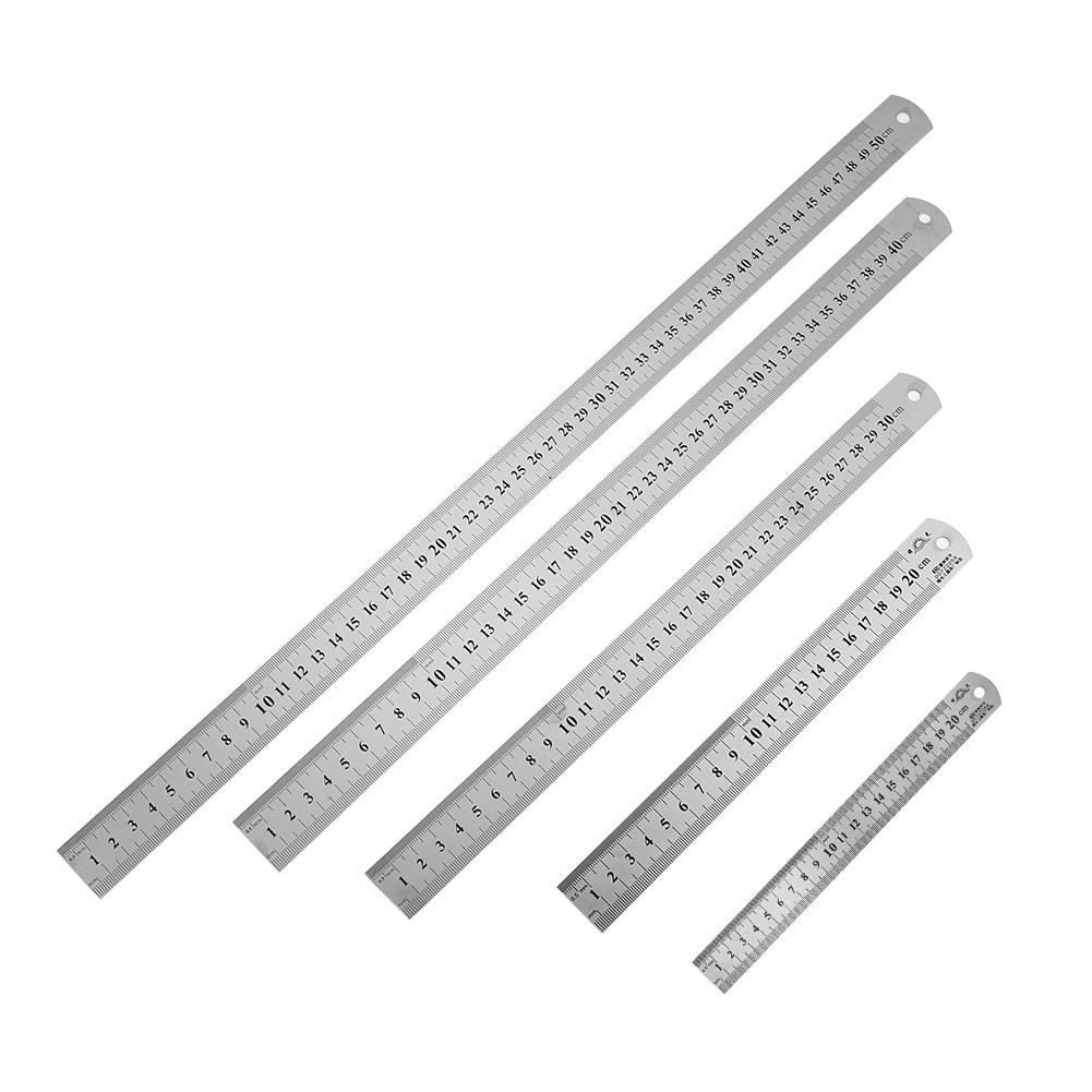 Double Sided Stainless Steel Straight Ruler Metal Scale Precision Measuring Hand Tool Stationery Drafting Accessory