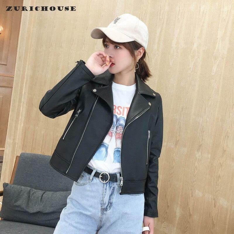 Abrigo de pelo auténtico de oveja ZURICHOUSE, Chaqueta corta estilo motociclista negro clásico a la moda para mujer, chaqueta de cuero genuino de alta calidad para mujer