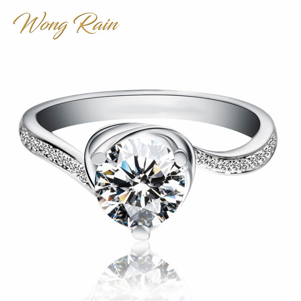 Wong Rain Classic 925 Sterling Silver Created Moissanite Gemstone Engagement Wedding White Gold Rings Fine Jewelry Wholesale