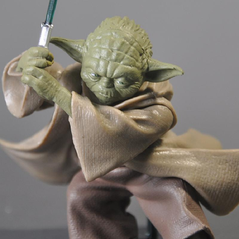 Yoda With Sword Star Wars Force Awakening Master Baby Yoda PVC Action Figure Model Toys Doll Ornament Decoration High 7cm