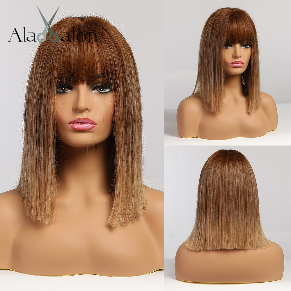 ALAN EATON Ombre Brown Golden Short Straight Hair Lolita Bobo Wigs with Bangs Synthetic Wigs For Wom