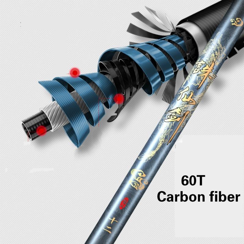 60T Carbon Fiber Fishing Canne 3.6m -7.2m Carp Fishing Pole Hand Olta De Pesca Fishing Gear 4H 5H 6H Hard Taiwan Fishing Rod enlarge
