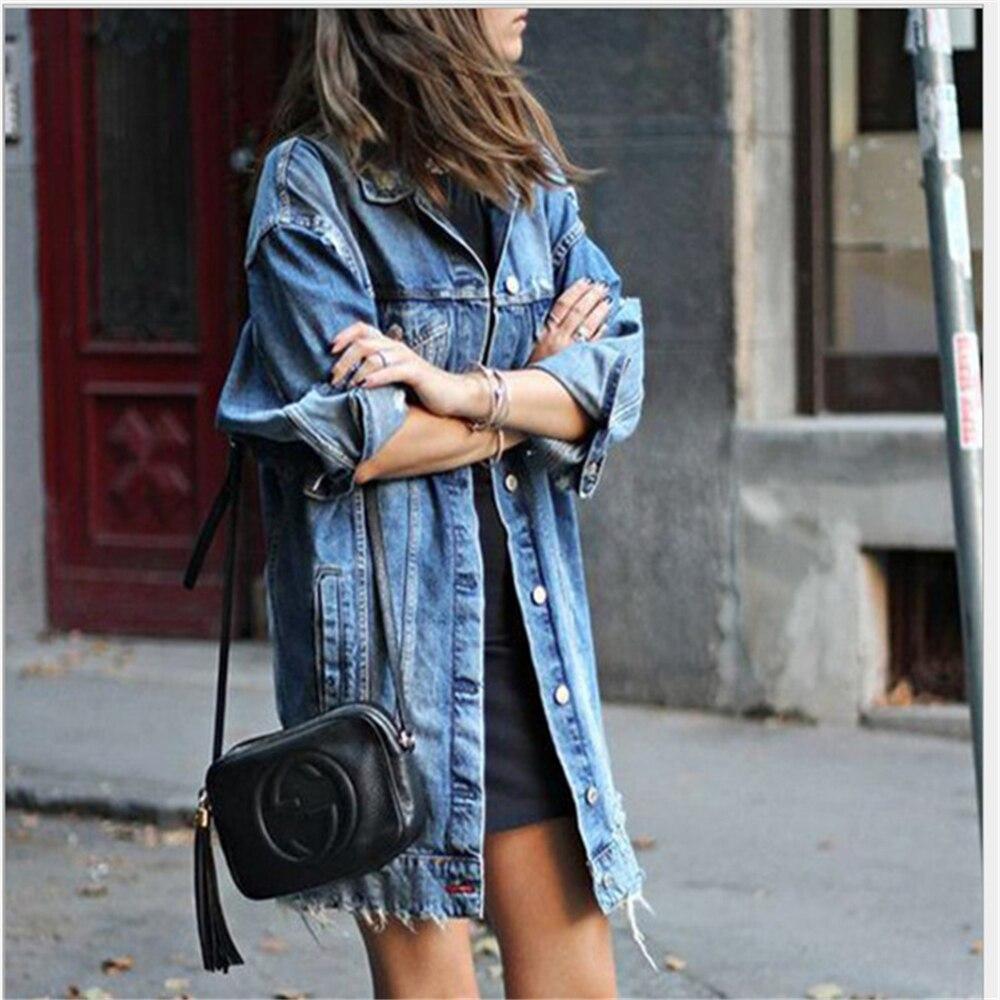 Hirigin Women Plus Size Clothes New Fashion Autumn Winter Women's Denim Coat Long Coat Jeans Coat Jacket Loose Casual Streetwear