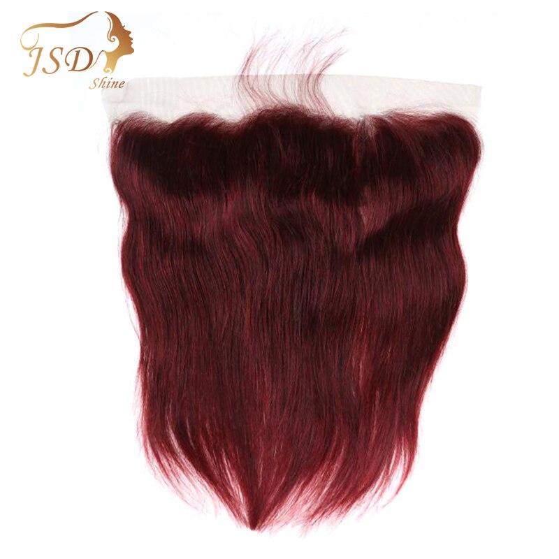 JSDShine pelo liso brasileño Borgoña 13*4 cierre frontal de malla con pelo de bebé 100% pelo humano no Remy 99j Cierre de encaje