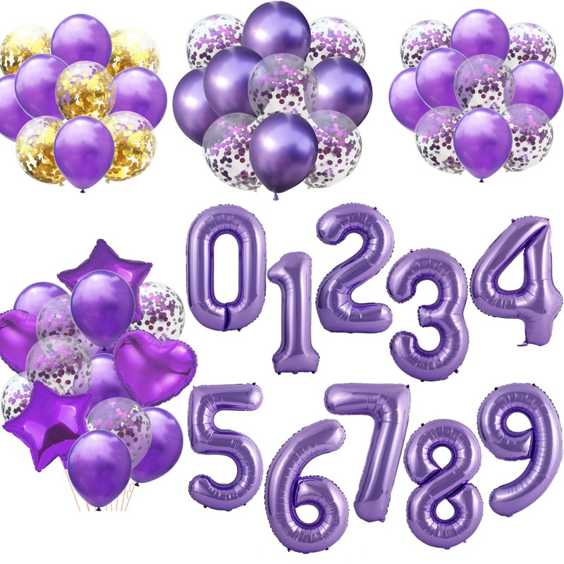 40inch Purple Foil Number Balloons Latex Happy Birthday Party Decor Balloon Adult/Kid Baby Shower/Wedding Decoration plies