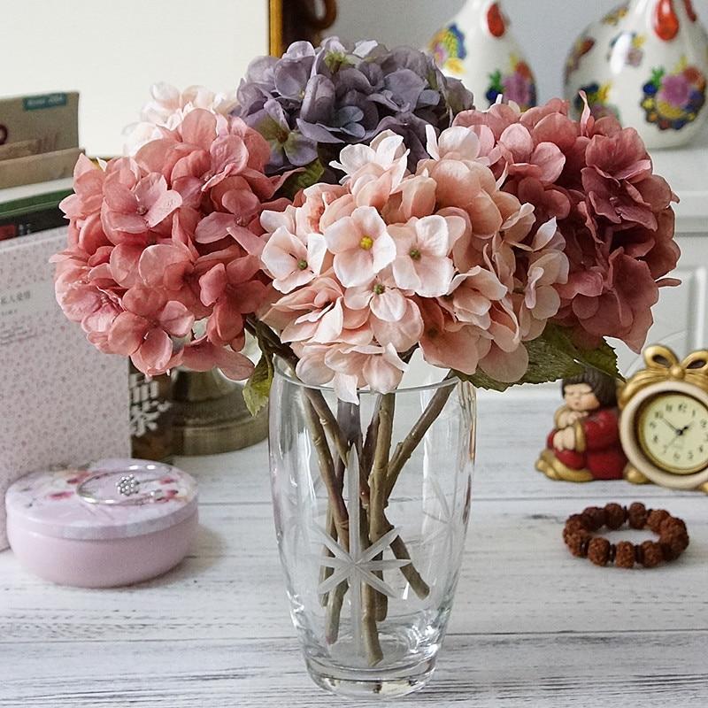 1 комплект шелковые гортензии осенние вазы для домашнего декора рождественские декоративные цветы свадебные цветочные настенные наборы Искусственные цветы дешевые