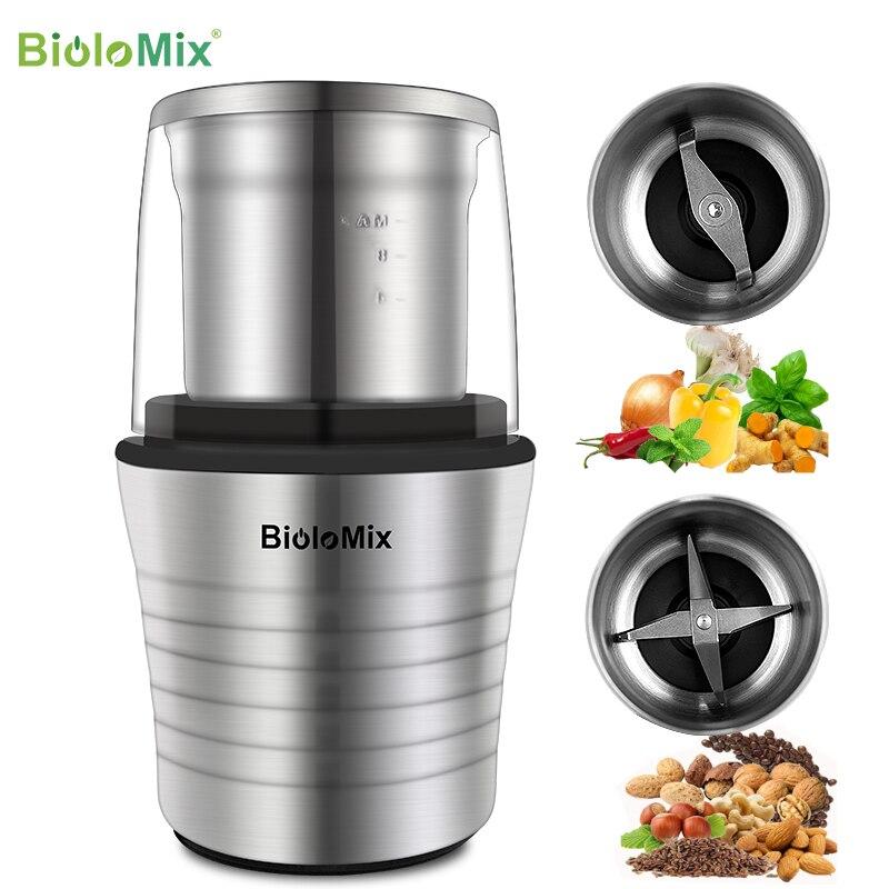 Электрическая кофемолка BioloMix 2 в 1 300 Вт с функциями измельчение специй и кофейных зерен, корпус из нержавеющей стали, лезвия Miller
