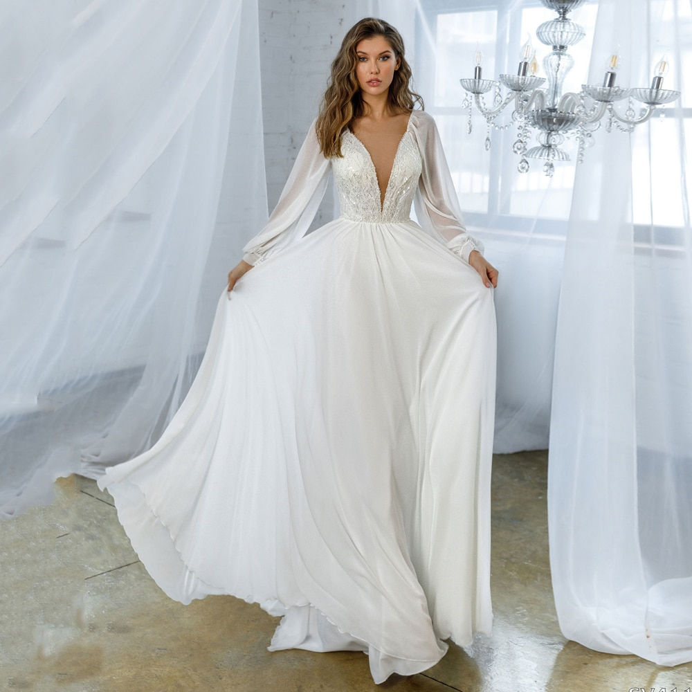 Get White Chiffon Wedding Dress for Bride New Arrival V Neck Long Sleeves A Line Sweep Train Sequined Lace Bridal Gowns Plus Size