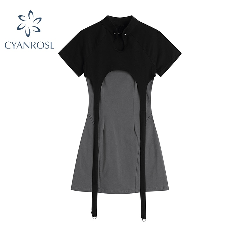 Streetwear Two Pieces Dresses Sets Women Simple Short Sleeve Grey Tops and Trendy Solid Basic Spaghe
