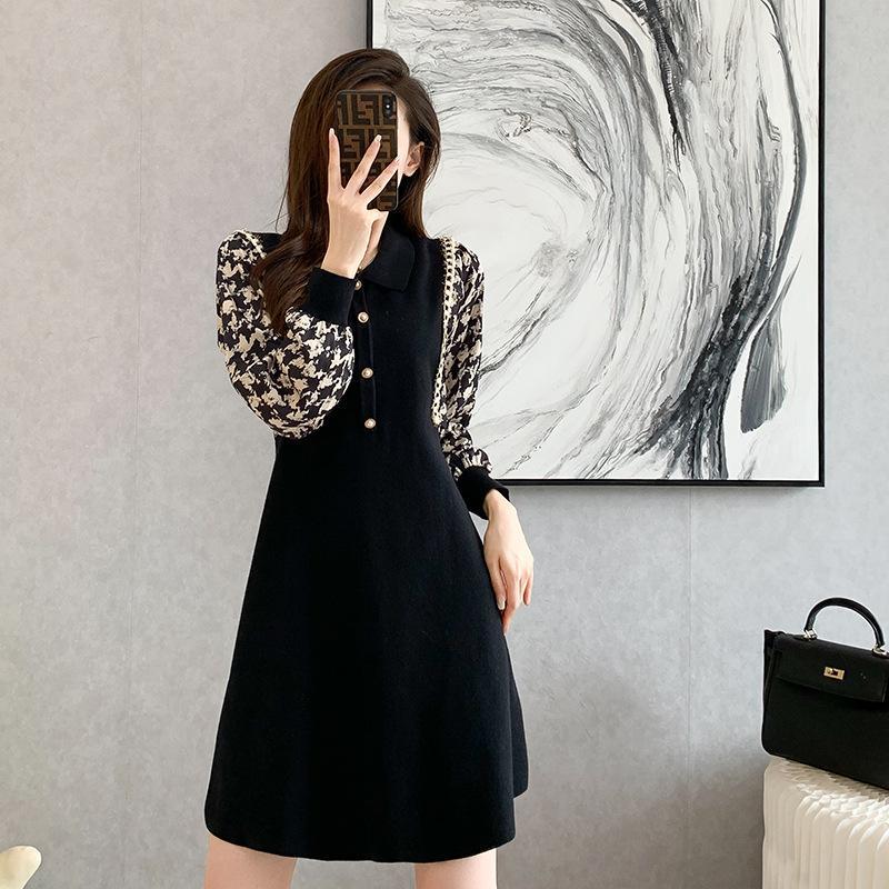 للمرأة فستان خريف/شتاء رقبة v فستان صغير كم طويل فستان منسوج
