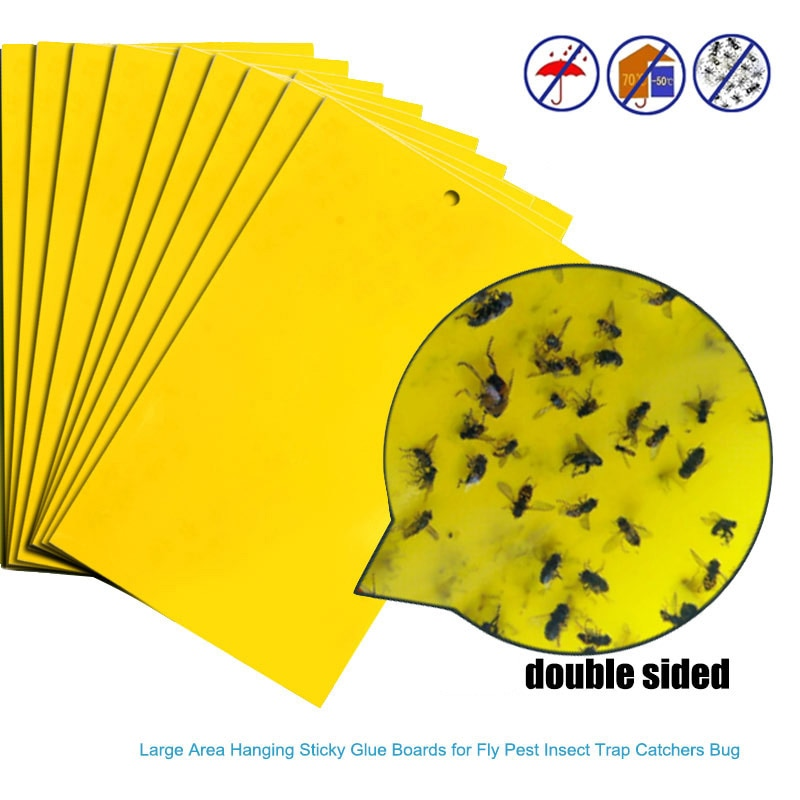 10/20/30pcs Yellow Greenhouse Sticky Traps Catch Multiple Flying Insect Pests Double-sided Paper Sticking Fruit Fly Garden Tool