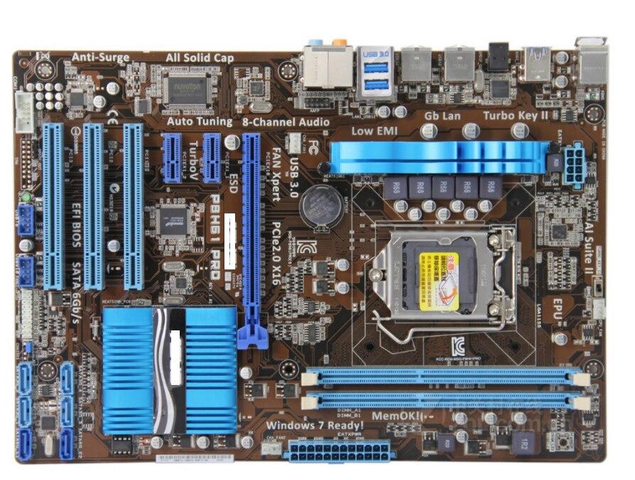 اللوحة الأصلية ل P8H61 برو DDR3 LGA 1155 USB2.0 USB3.0 ل I3 I5 I7 وحدة المعالجة المركزية 16GB H61 سطح اللوحة