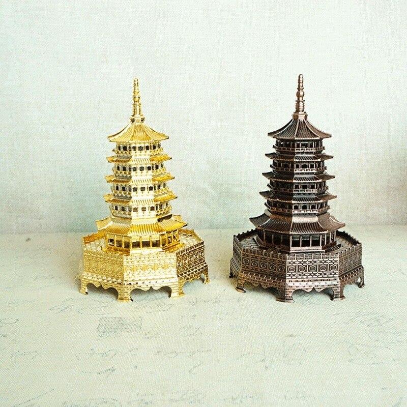Arquitectura de Metal tradicional china de 17cm Torre Pagoda Leifeng recuerdo de Serpiente Blanca regalo ornamental de Hangzhou artesanía Feng Shui