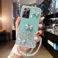 luxury bling glitter lanyard silicone phone case for samsung galaxy s21 s20 fe s10 s9 note 20 10 9 8 plus ultra thin strap cover