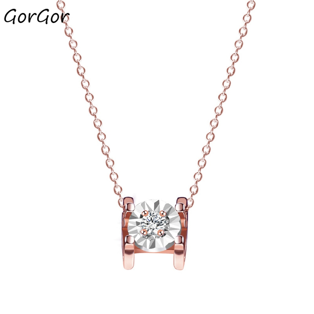 Женское ожерелье с подвеской в виде Розы, из серебра 925 пробы