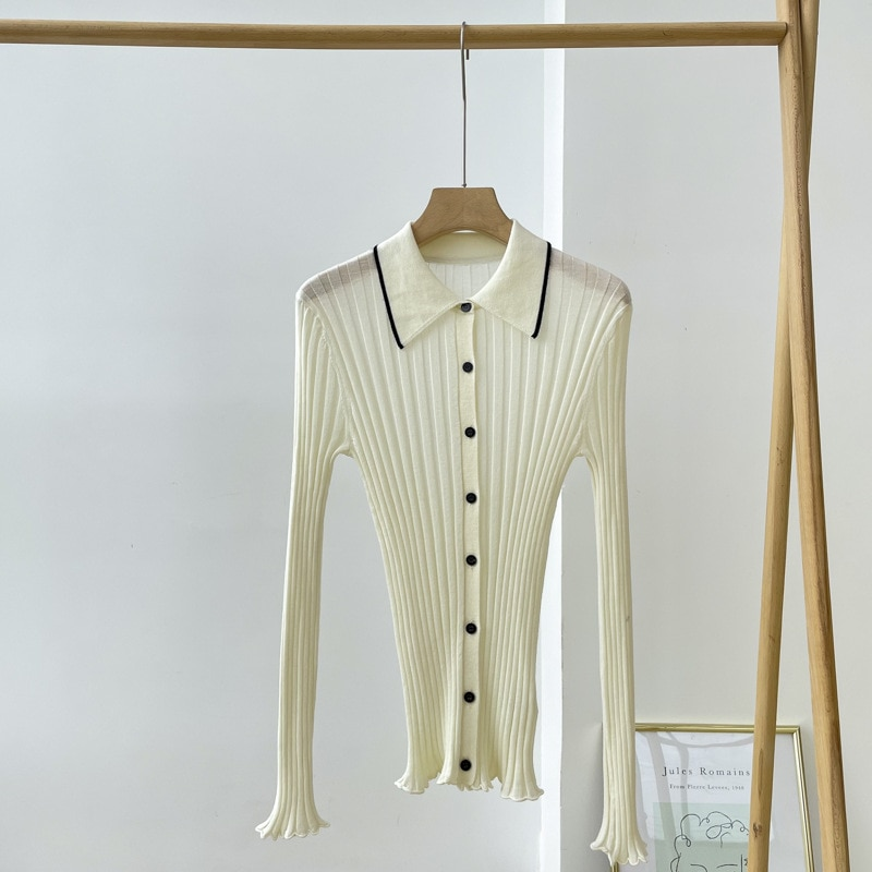 SHUCHAN Cardigan Women Thin Button Up Collar  Wool  England Style  Single Breasted  Cardigan Sweater Knit Spring/Autumn enlarge