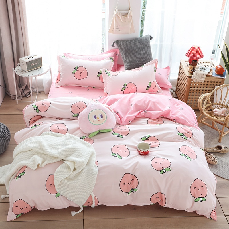 Cute Pink Peach Printed Girl Boy Kid Bed Cover Set Duvet Cover Adult Child Bed Sheets Pillowcases Comforter Bedding Set 61066