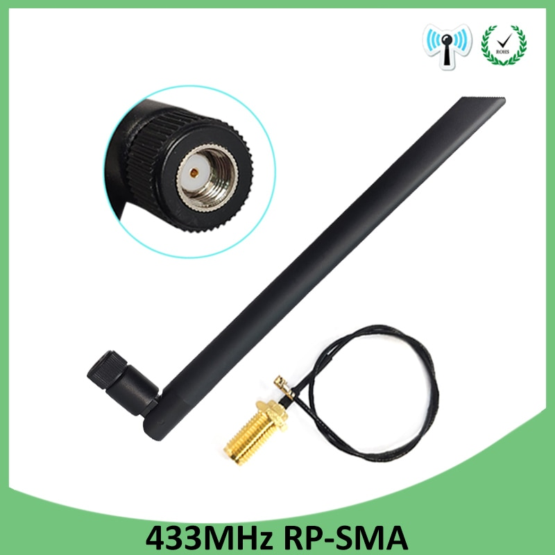 433Mhz Antenna 5dbi GSM 433 mhz RP-SMA Connector Rubber waterproof Lorawan antenna+IPX IOT SMA Male Extension Cord Pigtail Cable fakra connector gprs gsm antenna adhesive viscosity sma smb mcx bnc tnc fakra connector 900mhz 1800mhz 3meter cable