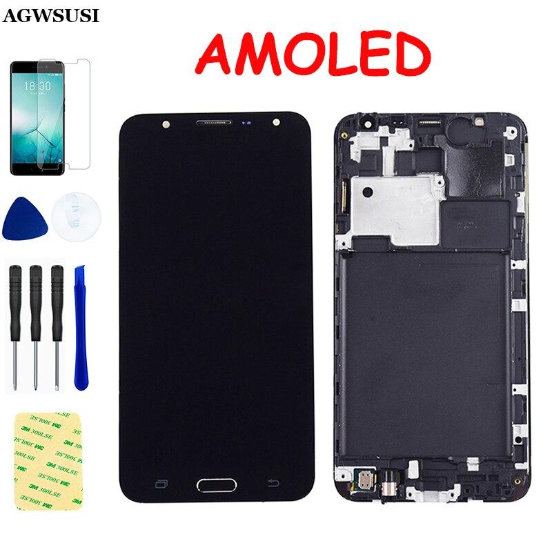 AMOLED para Samsung Galaxy J7 2015 LCD j700 SM J700F J700M J700H J700FN LCD pantalla Panel táctil digitalizador Sensor marco de montaje
