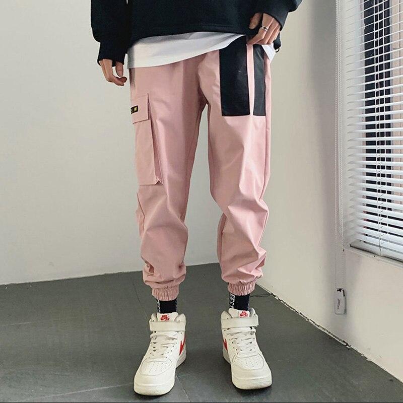 Pantalon de jogging en Patchwork japonais, style Cargo style Hip Hop, bloc de couleurs, rose, manchettes, collection 2019