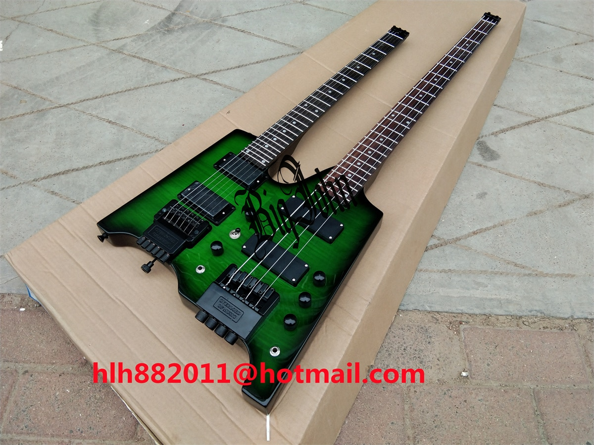 New Big John Double Neck Headless electric guitar,6 Strings Guitar Upper&4 strings electric bass Lower in green BJ-237