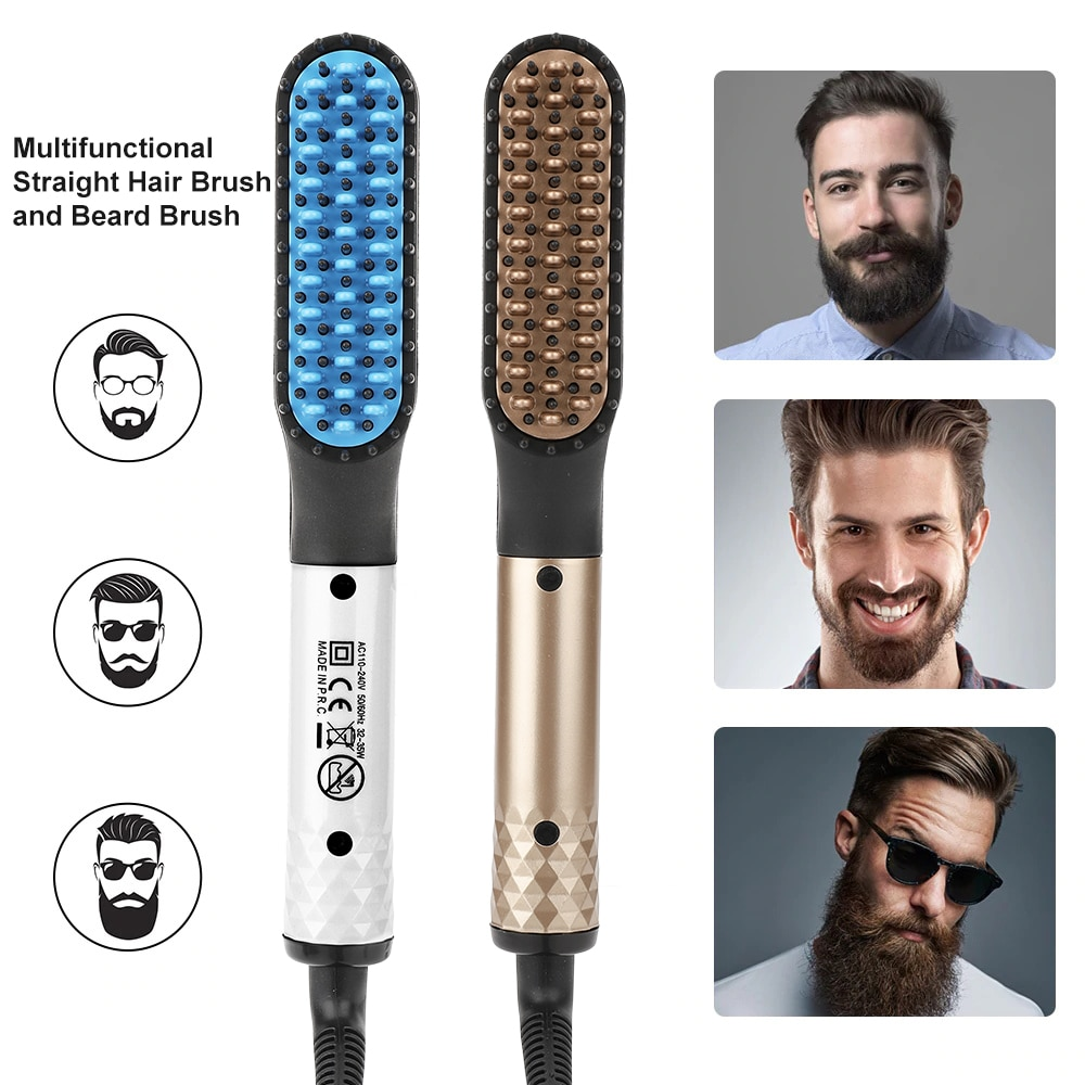 Beard Straightener Multifunctional Hair Straightener Hair Comb Brush for Men Quick Heating Straightening Iron Hair Styling Comb недорого