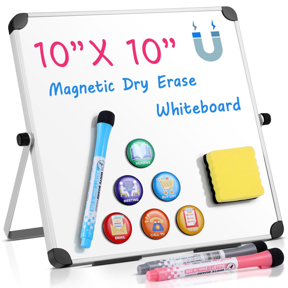 Homemaxs 10 x 10 in Dry Erase Board Double Sided Desktop Standing White Board Tabletop Message Board Reminder for School Home Of