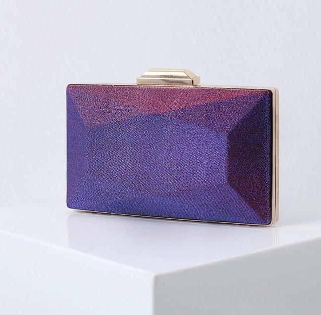 2020 new women purple Evening party bag female gradient color satin simple banquet handbag  girls clutches purses for wedding