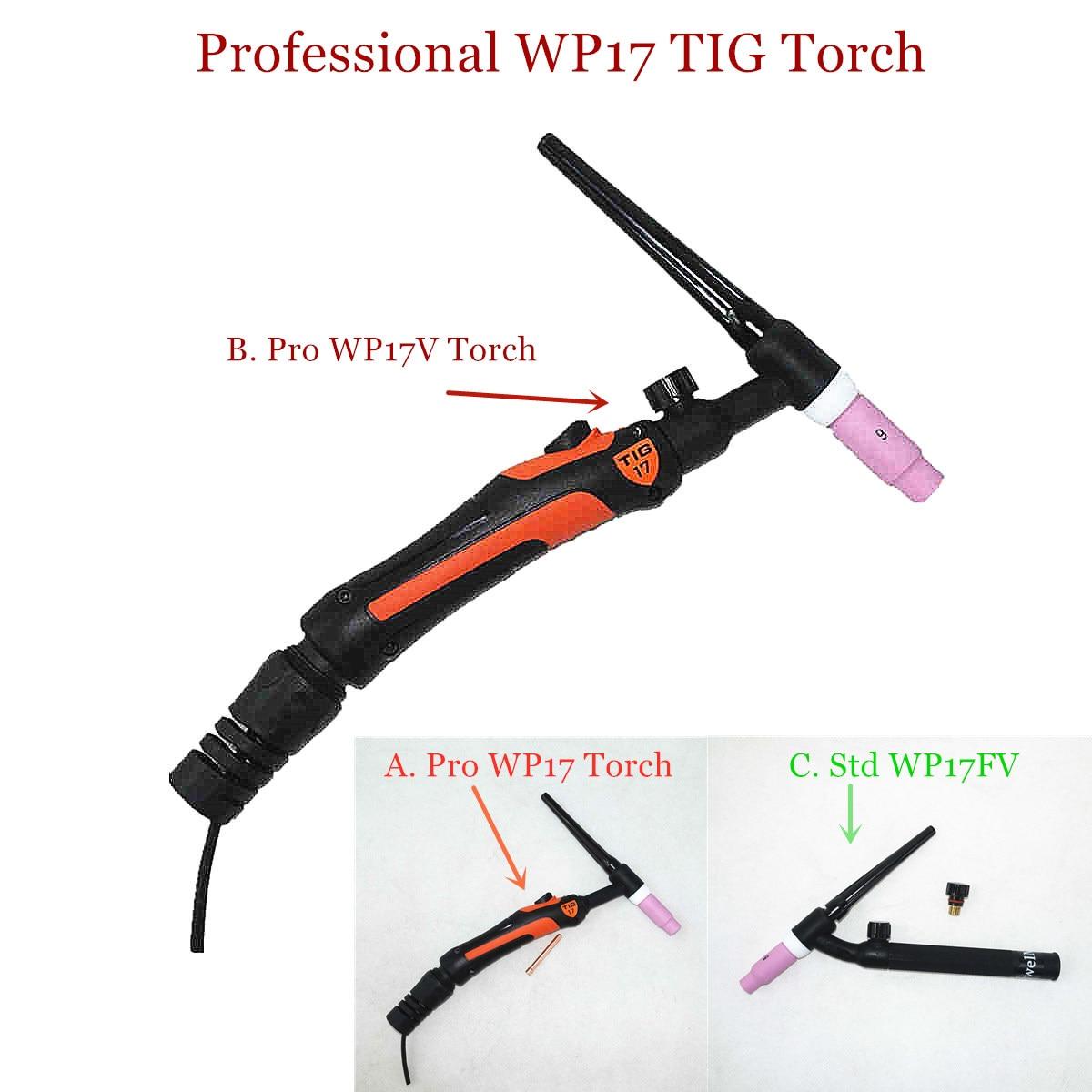 Professional WP17 TIG Torch 150A GTAW Gas Tungsten Welding Gun Argon Air Cooled WP17V Gas Valve W7FV Flexible TIG Welding Torch