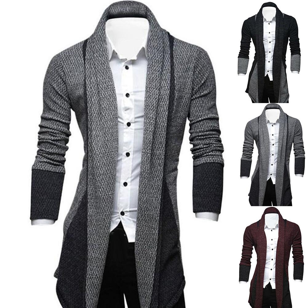 Men Long Sleeve Color Block Patchwork Knitted Loose Plus Size Long Coat Cardigan Men's Knitted Sweaters Pullover Men Knitwear