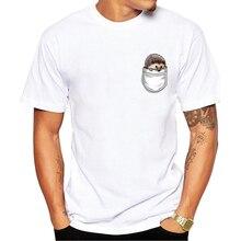 جديد الرجال تي شيرت سوبر لطيف جيب القنفذ تي شيرت مطبوع مضحك الكرتون تصميم الرجال الأبيض بلايز عادية رجل تيز