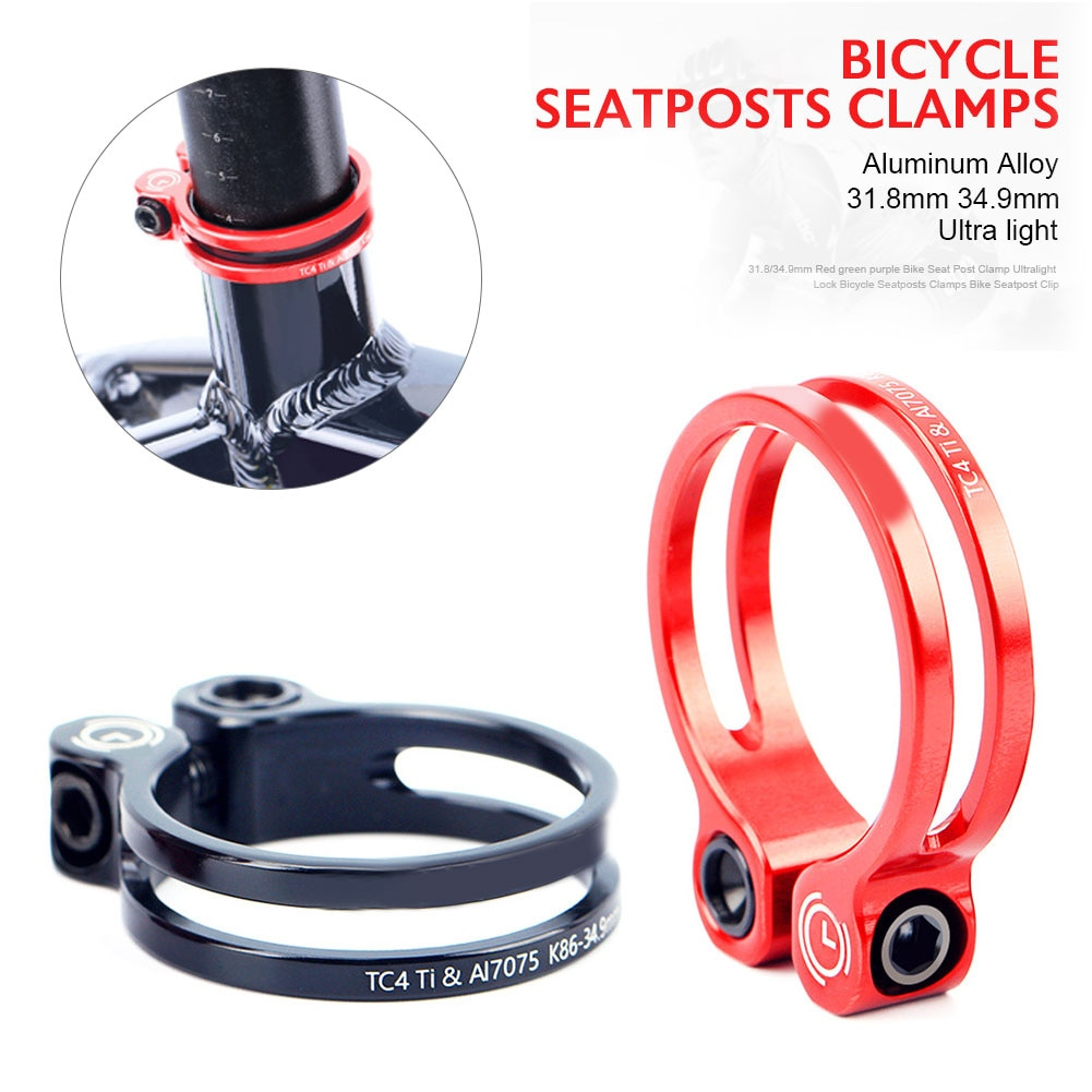 Abrazadera de tija de sillín de 31,8/34,9mm MTB sujeción sillín bicicleta de carretera con cuerpo de aluminio + tornillo de titanio piezas de bicicleta