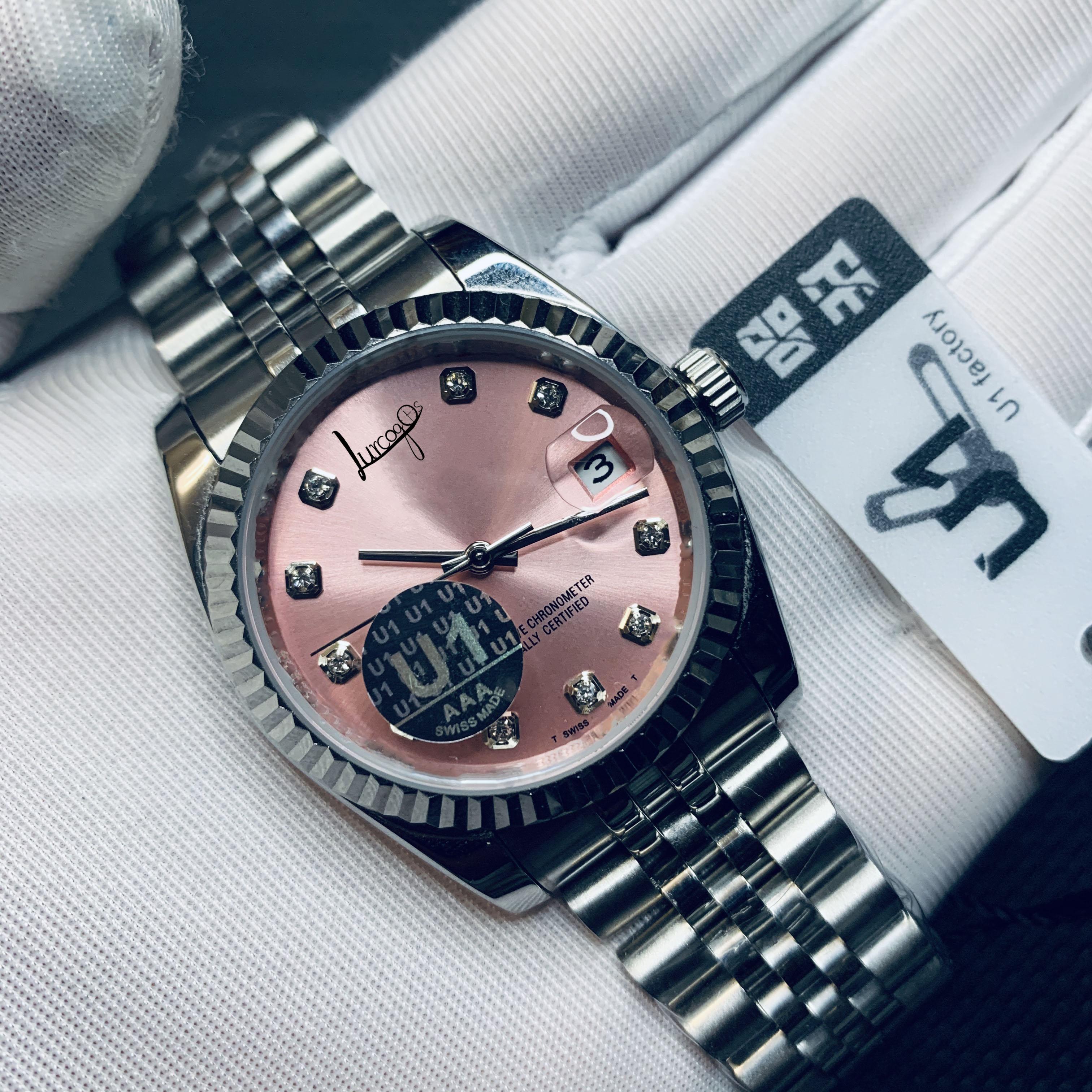 Designer watch new high-quality luxury brand pink dial men's self-winding self-winding movement AAA watch date