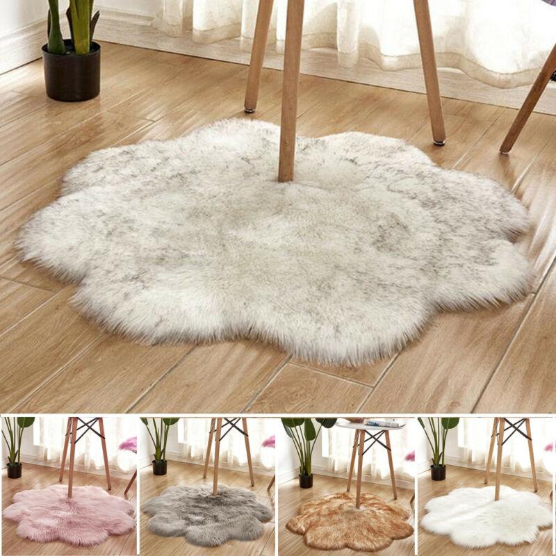 Nueva llegada alfombras peludas lavables de piel de oveja falsa para dormitorio Plum Blossom