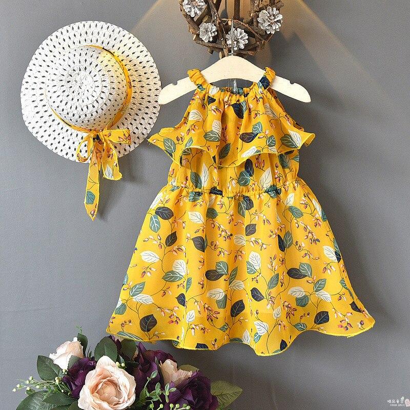 3-8Yrs bebé niños niñas encantador vestido con estampado Floral niñas verano playa vestido con sombrero