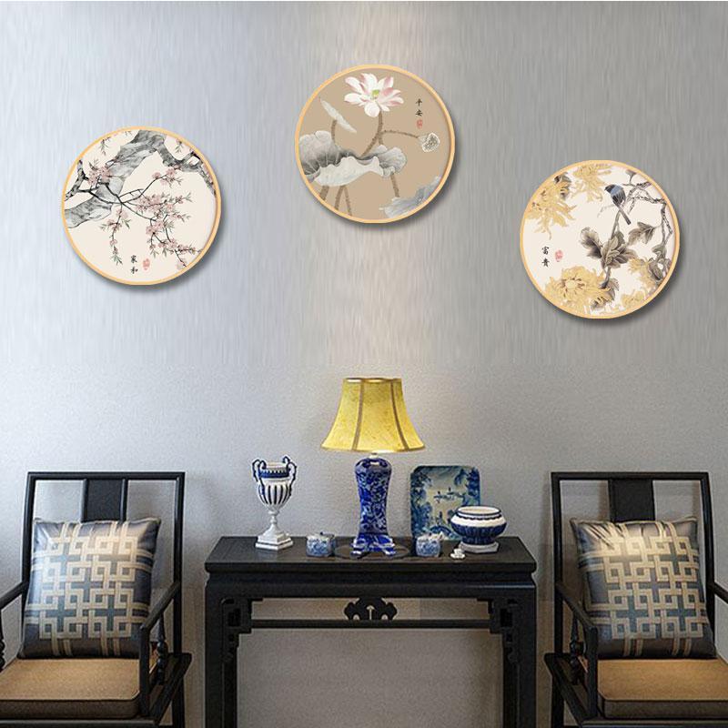 Cuadro sobre lienzo para pared, póster decorativo moderno para el hogar con estampado de flores y aves chinas, tinta redonda HD para cuadro moldular para salón