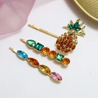 3pcsset rhinestone pineapple hair clips set for women exquisite crystal hairpins 2019 new female gifts accessories